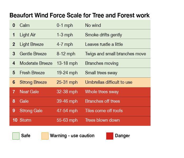 Tree Work. Forestry Work. Arborist. Beaufort Wind Force Scale guide for working at height.